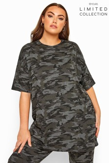 Yours Limited Collection Curve Camo Oversized T-Shirt
