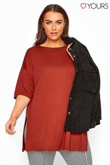 Yours Curve Chestnut Jersey Oversized T-Shirt
