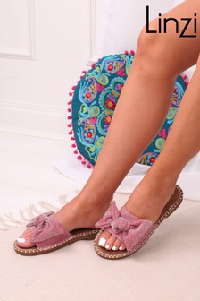 Linzi Metallic Woven Slip On Slider With Large Bow Front Strap