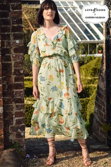Love & Roses Floral Tiered Midi Dress