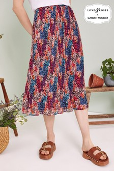 Love & Roses Patch Print Pleated Midi Skirt