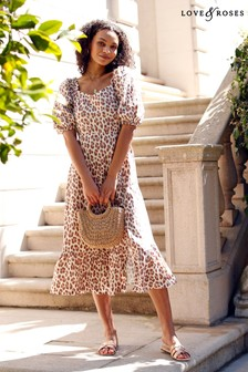 Love & Roses Square Neck Linen Midi Dress