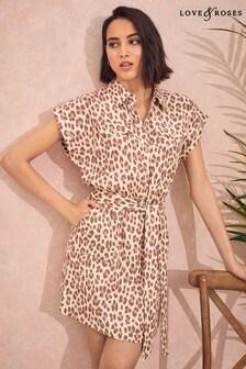 Love & Roses Linen Roll Sleeve Shirt Dress