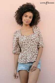 Love & Roses Square Neck Linen Top
