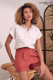 Love & Roses Patch Pocket Roll Sleeve Shirt