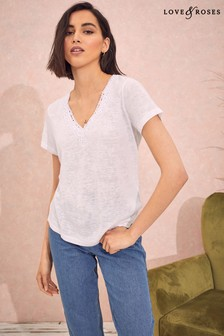 Love & Roses Jersey Lace Trim 2 Way T-Shirt