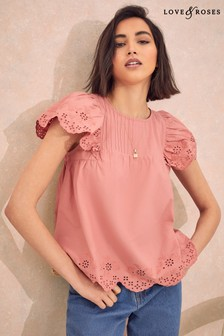 Love & Roses Broderie Pin Tuck Shell Top