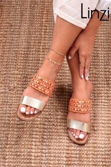 Linzi Raffia And Faux Leather Double Strap Sandal