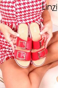 Linzi Faux Leather Buckle Detail Comfort Slider Sandal