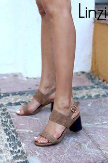 Linzi Nubuck Stacked Block Heeled Sandal