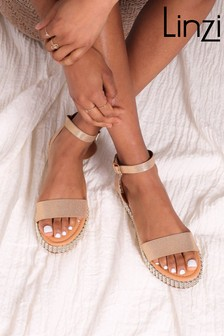 Linzi Nappa Two Part Sandal With Studded Trim Detail
