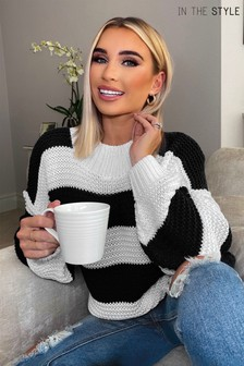 In The Style Billie Faiers Stripe Oversized Jumper
