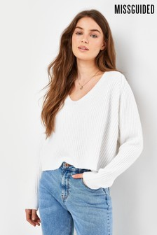 Missguided Rib Recycled V neck Jumper