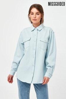 Missguided Pale Wash Denim Shirt