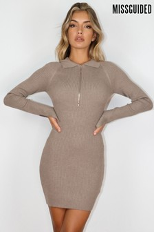 Missguided Collared long sleeved Mini Dress