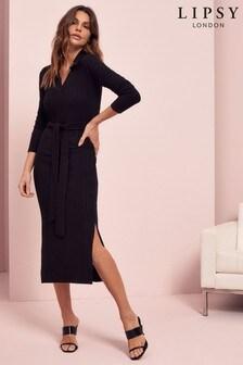 Lipsy Cosy Polo Collar Midi Dress