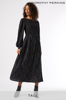 Dorothy Perkins Tall Ditsy Smocked Midi Dress
