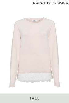 Dorothy Perkins Tall Lace Hem Brushed Top