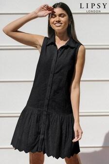 Lipsy Sleevless Frill Shirt Dress