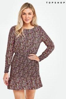 Topshop Floral Shirred Mini Dress