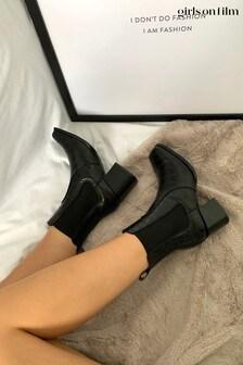 Girls On Film Square Toe Block Heel Boot