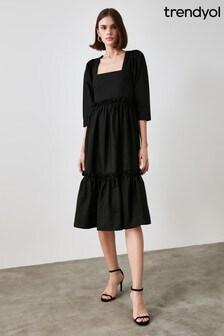 Trendyol Square Neck Ruffle Dress