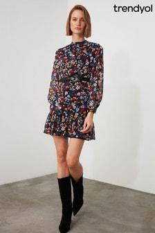 Trendyol Multi Coloured Floral Printed Ruffle Dress