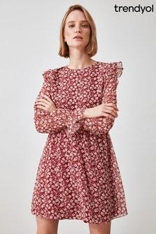 Trendyol Floral Frill Sleeve Detail Shift Dress