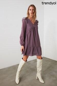 Trendyol V Neck Printed Smock Dress