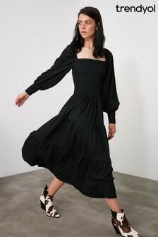 Trendyol Puff Sleeve Square Neck Maxi Smock Dress