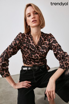 Trendyol Leopard Print Wrap Top