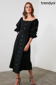 Trendyol Belted Button Detailed Dress