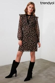 Trendyol Patterned Collar Detailed Dress