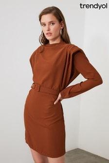 Trendyol Belted Shoulder Detail Dress