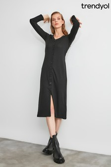 Trendyol Button Detailed Knitted Dress