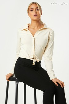 Little Mistress Amaury Sand Tie-Front Shirt