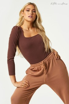 Little Mistress Adrien Chocolate Ribbed Puff Sleeve Bodysuit