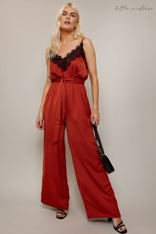 Little Mistress Chicago Rust Satin Lace Trim Jumpsuit