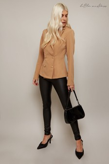 Little Mistress Forever Camel Double-Breasted Blazer Co-ord