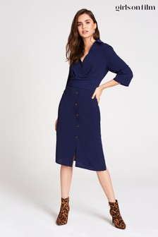 Little Mistress Brielle Button Front Shirt Dress