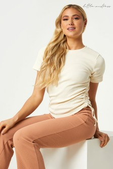 Little Mistress Loris Ribbed Ruched Side T-Shirt