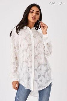 Little Mistress Tulum Textured Fringe Longline Shirt