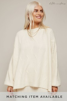 Little Mistress Admire Geo Ribbed Oversized Jumper Co-ord