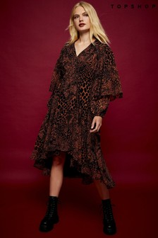 Topshop Idol Animal Print Patchwork Midi Dress