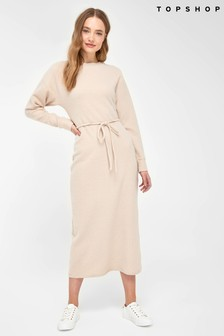 Topshop Cosy Rib Belted Midi Dress