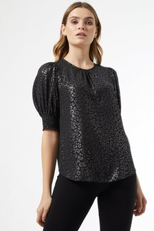 Dorothy Perkins Foil Animal Shirred Cuff Top