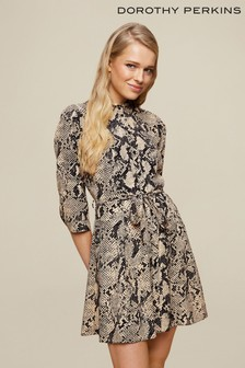 Dorothy Perkins Natural Snake Mini Shirt Dress
