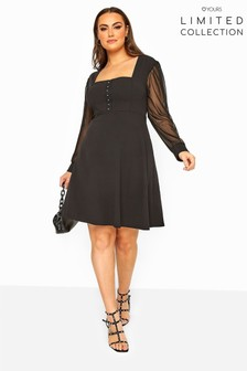 Yours Limited Collection Milkmaid Mesh Sleeve Skater Dress