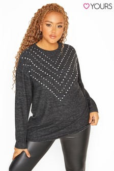 Yours Curve Chevron Diamante Soft Knitted Jumper