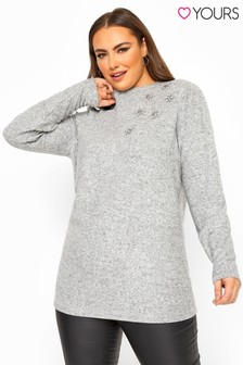 Yours Curve Diamante Floral Soft Knitted Jumper